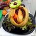 Sárgadinnye - gyümölcstál majdnem készen