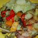 sült nyúl zöldséggel burgonyával..